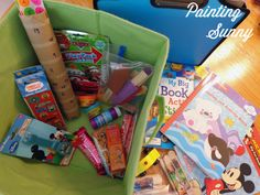 Road Trip Busy Boxes - Kid Travel...I think I can convert some of these ideas for air travel.