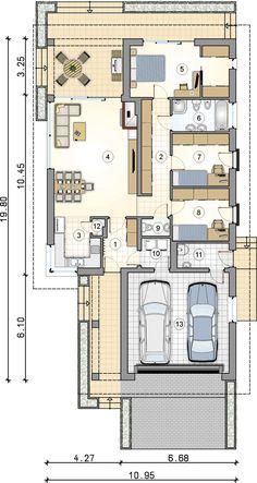 Rzut parteru - projekt Morgan II House Architecture Styles, Architectural House Plans, Design Case, Atrium, Smart Home, Soho, Planer, Decorating Your Home, Villa