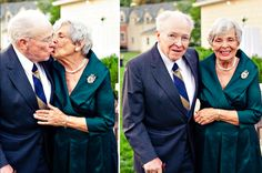 How chic are these two? When your grandparents are as stylish and dapper as this, you've got to get wedding photos of them in all their refined glory. Plus, that cute kiss makes our hearts flutter.