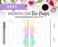 2021 Mini Discbound 4.63 X 7 Printable Monthly image 0 Weekly Planner Printable, Monthly Planner, Watercolor Splatter, Mini Happy Planner, Printer Paper, Planner Inserts, Hourglass, Planner Ideas, Calendar