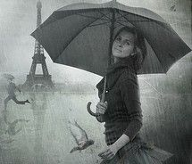 Rain at the Eiffel Tower.