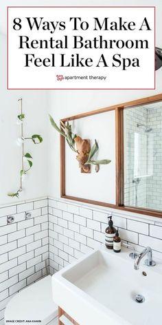 These 8 rental upgrades will make your bathroom feel like it's in a fancy hotel. #rental #rentalbathroom #bathroomideas #smallbathroomideas #bathroomdecor #bathroomtrends #luxurybathroom #bathroommakeover #rentershacks #rentalideas