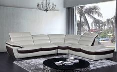 Miracle Contemporary Two Tone Leather Sectional Sofa