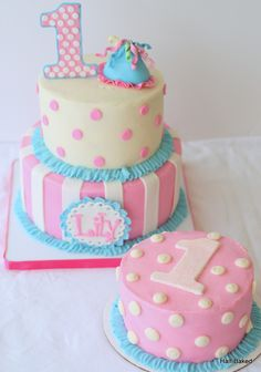 First Birthday Cake Made To Match The Outfit Of The Party Girl Cake Is Buttercream With Fondant Decorations