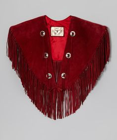 Take a look at this Rust Fringe Pig Suede Cape by BULL on #zulily today!