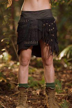Alessia Studded Pocket Skirt Black  Stud Gypsy Festival Goa