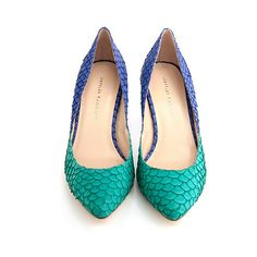 Loeffler Randall Tamsin classic pump Aqua/Azure fish skin ($198) ❤ liked on Polyvore featuring shoes, pumps, aqua high heel shoes, leather sole shoes, block shoes, aqua blue pumps and loeffler randall pumps