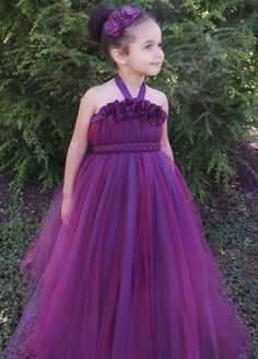 Flower Girl Tutu Dress - Plum Wine - Majestic Magenta - 12 Month to 2 Toddler Girl - Cutie Patootie Designz via Etsy