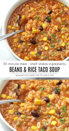 Beans & Rice Taco Soup by The Toasty Kitchen recipes healthy vegetarian vegans Veggie Recipes, Mexican Food Recipes, Whole Food Recipes, Soup Recipes, Vegetarian Recipes, Cooking Recipes, Healthy Recipes, Vegetarian Rice Soup, Kitchen Recipes