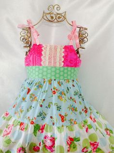 Girl Dress Size 4-5; Floral Garden Ruffle; Handmade; Everyday Use; 100 % Cotton #Handmade #DressyEverydayHoliday