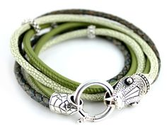Leather bracelet SNAKE, 925 Sterling Silver
