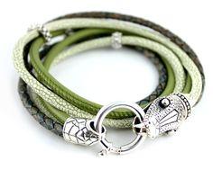 Leather bracelet SNAKE, 925 Sterling Silver
