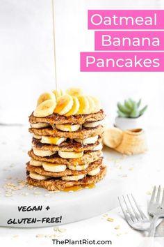 Vegan oatmeal banana pancakes | 100% plant-based and gluten-free oat flour pancake recipe for healthy breakfast + brunch! | Great breakfast meal-prep and kids love them too! | #ThePlantRiot #vegan #plantbased #pancakes #oatmealbananapancakes #oatmeal #banana #glutenfree | ThePlantRiot.com Vegetarian Recipes Easy, Good Healthy Recipes, Delicious Vegan Recipes, Unique Recipes, Dairy Free Recipes, Real Food Recipes, Healthy Food, Oat Flour Pancakes, Banana Oatmeal Pancakes