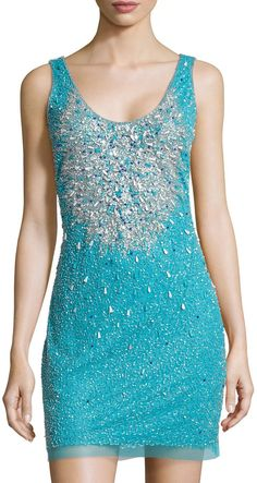 Aidan Mattox Scoop-Neck Beaded Tank Dress, Bright Aqua