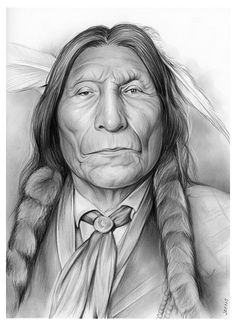 Wolf robe, American Indian pencil portrait by Greg Joens