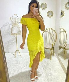 Best 12 Lindo look ✨ . Burgundy Dress, Yellow Dress, Midi Sundress, Casual Dresses, Prom Dresses, Summer Dresses For Women, Swing Dress, African Fashion, Fashion Outfits