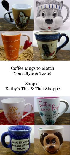 Christmas Shopping for the coffee drinker on Your list this season? Shop online at Kathy's This & That Shoppe to find Unique and Novel Mugs for everyone on Your List! Cat Mug, Coffee Drinkers, Ceramic Cups, Christmas Shopping, Coffee Cups, Your Style, Ceramics, Mugs, Tableware