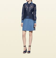 contrast denim dress with broderie anglaise detail