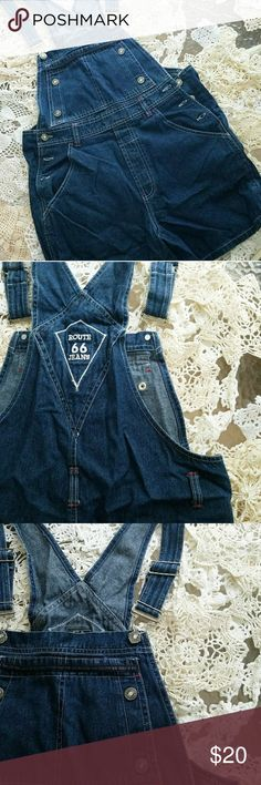 Route 66 dark denim bib overall shorts medium Dark denim bib overall shorts route 66 brand size medium never worn no tags Route 66 Other