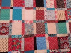 king size turquoise and red quilt by 4quiltsandmore on Etsy, $249.00