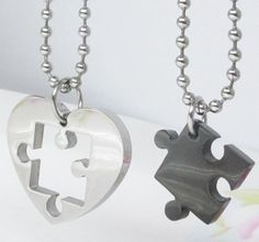 Matching necklaces - Silver/Black with 50cm ball chain for each pendant - Brad's Little Aussie Autism Shop