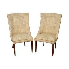 Vintage Upholstered Occasional or Host Chairs - A Pair