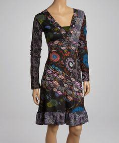 Black & Green Floral V-Neck Dress - Women #zulily #zulilyfinds