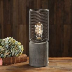 "Williston Forge Careen Thick Concrete 15"" Table Lamp"