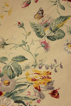 Vintage French Cotton Floral Satinized Fabric Material Butterflies Fabric 1940S | eBay