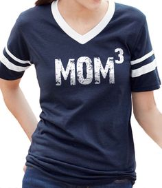 Valentine's Day Gift MOM 3 Womens T shirt V-Neck Jersey with Striped Sleeves New Mom Mother's Day mom to be by ebollo on Etsy https://www.etsy.com/listing/182847609/valentines-day-gift-mom-3-womens-t-shirt