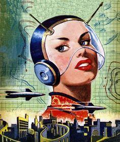 Vintage science fiction illustration - woman in a helmet and a futuristic city Arte Sci Fi, Retro Kunst, Retro Art, Comics Illustration, Illustrations, Vintage Space, Vintage Art, Vintage Girls, Sci Fi Kunst