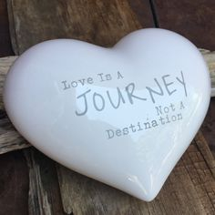 love is a journey not a destination ceramic heart, love ceramic heart, heart gift, love gift, marriage gift, wedding gift, white love heart by Bedotted on Etsy