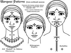 Harquus Facial Tattoos that could be drawn on for tribal dance makeu6
