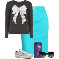 """Blue and Bows"" by modest-16 on Polyvore"