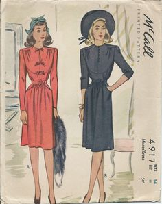 Vintage 1940's Dress Pattern McCall 4917 by SewPatterns on Etsy