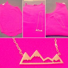 Gold Elk mountain necklace. Hot pink White Closet top from Lalt Collective, Clare