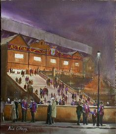 Aston Villa AFC football paintings by Dick Gilhespy Afc Football, Football Stadiums, Football Stuff, Football Paintings, Aston Villa Fc, Soccer Art, Villa Park, Birmingham Uk, Best Club