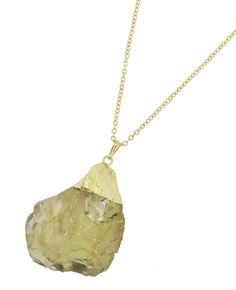 Gold Tone / Yellow Druzy Semi-precious Stone(size & Shape May Vary) / Lead&nickel Compliant / Pendant / Long Necklace