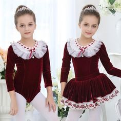 Wined red navy blue pink velvet long sleeves leotards girls kids children princess tutu skirt competition skating swan lake ballet dance dresses outfits #balletskirt