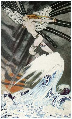 """Kay Nielsen """"However, if you really are anxious to go there, and are not afraid to go with me, I will take you on my back, and try if I can blow you there."""""""