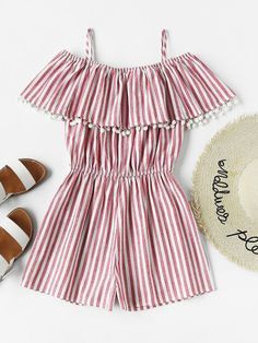 To find out about the Pom Pom Trim Frill Cold Shoulder Striped Playsuit at SHEIN, part of our latest Jumpsuits ready to shop online today! Girls Fashion Clothes, Teen Fashion Outfits, Kids Outfits, Kids Fashion, Gothic Fashion, Cute Casual Outfits, Cute Summer Outfits, Baby Girl Dresses, Cute Dresses