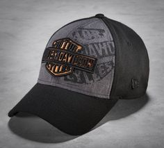 Contrasting panels and the combo print/embroidery on front elevate the style on this new men's baseball cap. Harley Davidson Gear, Harley Davidson Merchandise, Hd Vintage, Leather Biker Vest, Harley Davison, Motorcycle Style, Motorcycle Garage, Riding Gear, Hats For Men