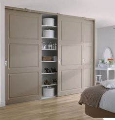 Just to show an example of Closet with Sliding Doors - Built in package closet can have sliding doors so as not to get in the way of the front French doors