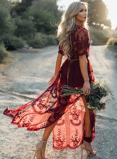 The dress features deep v neck, short sleeve, high slit, allover lace, hollow out, solid color and maxi length.;Polyester, soft and comfortable;The dress features deep v neck, short sleeve, high slit, allover lace, hollow out, solid color and maxi length.