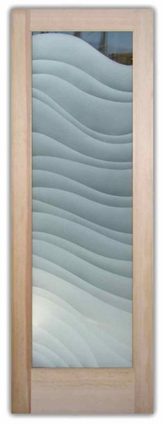Glass Front Doors Etched Glass Door Waves Frosted Wavy