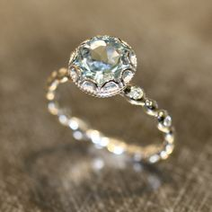 Floral Aquamarine Engagement Ring in White Gold Pebble Diamonds .- Floral Aquamarin Verlobungsring aus Weißgold Pebble Diamond Ehering Floral Aquamarine Engagement Ring in White Gold Pebble Diamond Wedding Band … - Engagement Rings Under 1000, Non Diamond Engagement Rings, Pretty Engagement Rings, Vintage Engagement Rings, Diamond Rings, Wedding Engagement, Ruby Rings, Diamond Jewelry, Affordable Engagement Rings