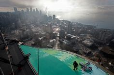 """""""New Year's Eve fireworks installed on top of Space Needle [in Seattle]"""" -- Click through for another photo."""
