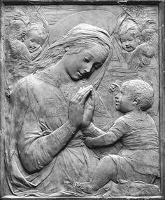 The Virgin and Child Relief Italy (made) third quarter 15th century (made) Purple-veined white marble panel in wooden frame with figures sculptured in low relief Victoria and Albert Museum Museum number:66-1866 Unknown (in the style of Desiderio da...