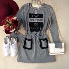 Vestido LOVE DOUCEUR no Moleton c/ Manga Longa( COR CINZA MESCLA)