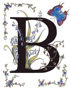 B For Bluebells And A Blue Hairstreak Butterfly Painting by Stanza Widen